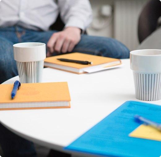 Pennor block och kaffe